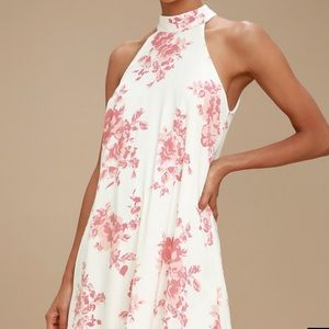 Lulus blush pink & white floral print swing dress